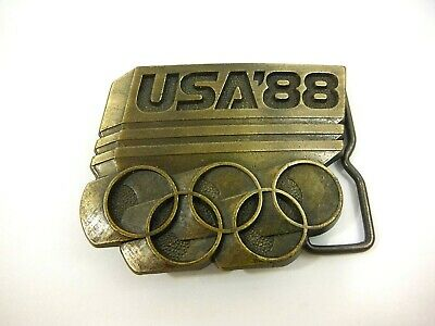 VINTAGE 1988 OLYMPIC RINGS BRASS Metal BELT BUCKLE - Team USA - Olympic Games