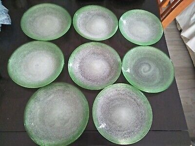 8 Vintage Mexican Hand Blown Bubble Glass desert plates, green and white, RARE