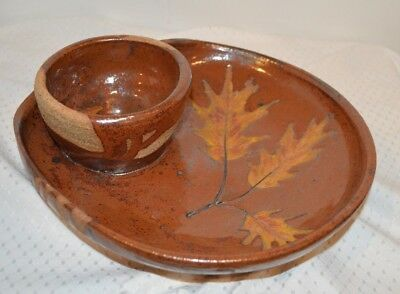 Heavy Clay Stoneware Pottery Chip & Dip Bowl Hand Thrown Hand Made Fall Leaves