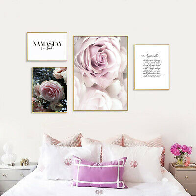 Rose Flower Plant Poster Wall Art Canvas Print Nordic Bedroom Decoration Picture