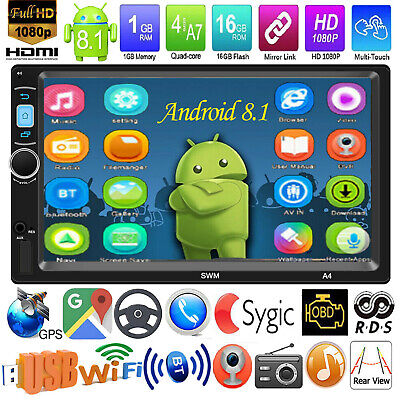 7IN 2 DIN Android 8.1 Car MP5 Player GPS Navi FM Radio RDS WiFi BT AUX 1GB+16GB