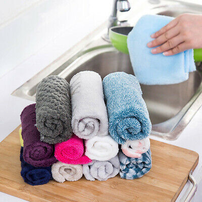 Bamboo Fiber Dish Cloth Cleaning Cloth Washing Towel Scouring Pad Wiping Rags