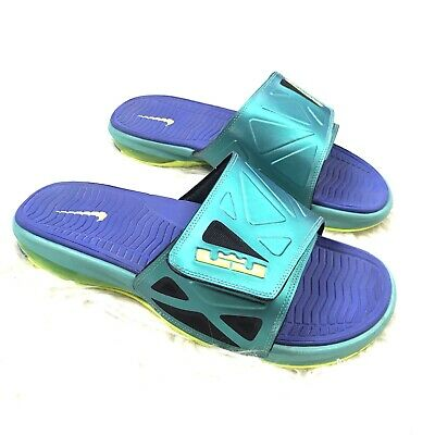 a1f3b39658a Nike Air LeBron Mens 10 Multi Colored Neon Slip On Elite Slides Shoes 578251