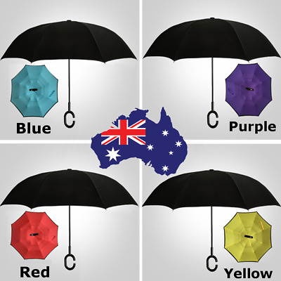 Modern Upside Down Reverse Windproof Umbrella C-Handle Double Layer Inside-Out