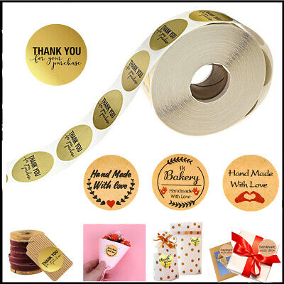 500Pcs Thank You Kraft Stickers Seals Label For Candy Tags Cake Gift Box Craft !
