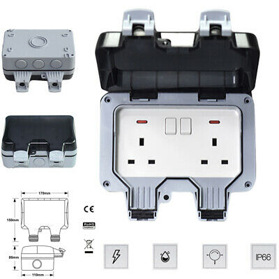 Waterproof Outdoor 13A 2Gang Storm Switched Socket Double IP66 Outside Use Tools