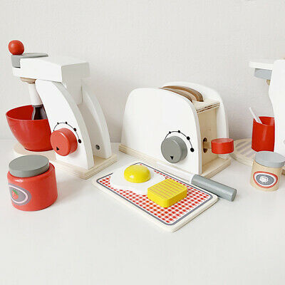 Wooden Kitchen Toaster Breakfast Toys Infants Pretend Cooking Supplies Kit 6A