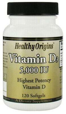 Healthy Origins Vitamin D3 5000Iu Highest potency Vitamin D - 120 Soft gels