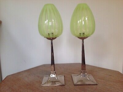 Arts & Crafts Nouveau Pair Of Vaseline Glass Candlestick Lamp Shades -Rare