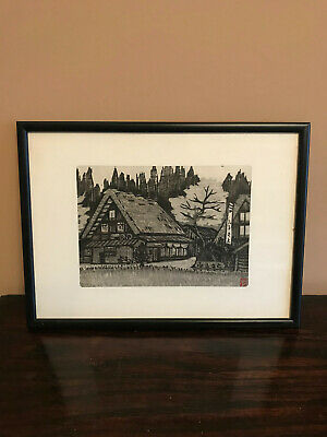 Attractive, professionally framed, black and white Japanese woodblock print.