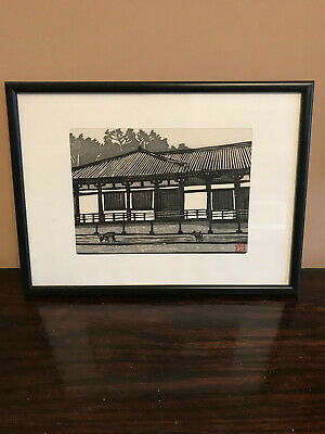 Attractive, professionally framed, black and white Japanese woodblock print