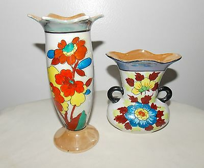 Two Japanese Luster Ware Vases Beautiful RARE 1930s Flowers Vibrant Colors