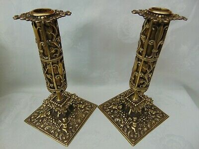Pair Antique French Ornate Brass Candlesticks /  Holders