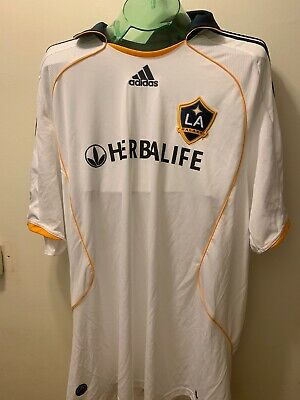 buy online 514ad 8feee LA Galaxy David Beckham 23 MLS Adidas Authentic White Jersey Herbalife Size  2XL