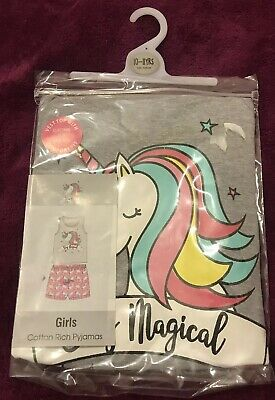 Girls Unicorn Pyjamas Pjs Age 10-11 Years Gift Present Cotton Shorts & Vest
