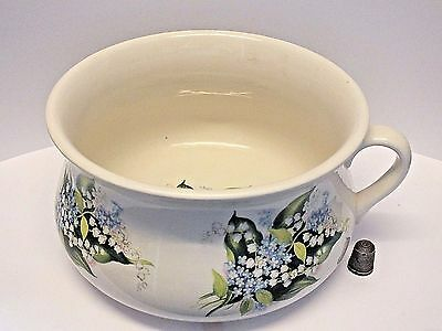 "Large 7"" Size Portmeirion Chamber Pot with Lily of the Valley & Forget-Me-Nots"