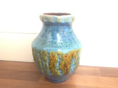 217-14 Cartens West German Fat Lava Pottery Retro Vintage Vase 60s 70s Turqu