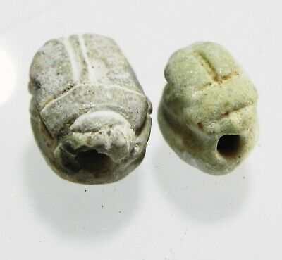 Zurqieh -As12372- Ancient Egypt, Lot Of 2 Stone Scarabs. 1400 B.c. New Kingdom