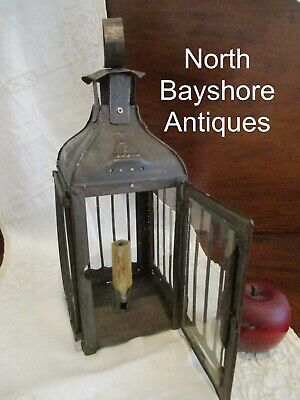 Antique 1800s French Tin Sheet Metal Large Cage Design Country Candle Lantern