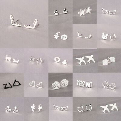 925 Silver Earring Womens Jewelry Stud Earring Girl Anti Allergy Animal Gifts