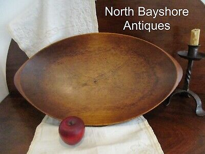 Antique 1800s New England. Hand Hewn Walnut Wood Trencher Dough Bowl aafa