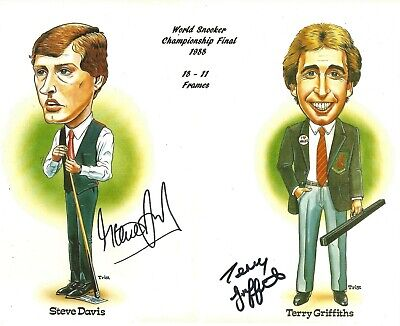 Hand Signed 8x10 photo STEVE DAVIS v TERRY GRIFFITHS SNOOKER FINAL 1988 + my COA