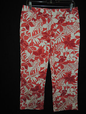 Size 8 Old Navy Stretch Women's White & Pink Floral Print Cropped Capris Pants