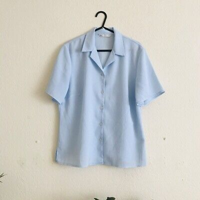 BHS Baby Blue Duck Egg Shirt Size 12 Bloggers Favourite Victoria Beckham Style