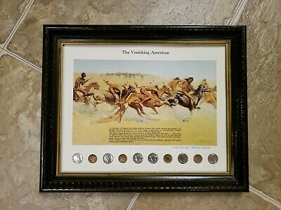 """The Vanishing American """"Indian Warfare"""" Framed Coin Set - Frederic Remington"""
