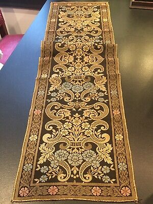 Antique Victorian or Edwardian Table Runner Woven Textile