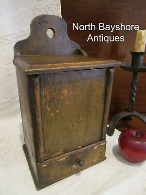 Antique 1700s American Colonial Painted Wooden Candle Box w Tinder Drawer aafa