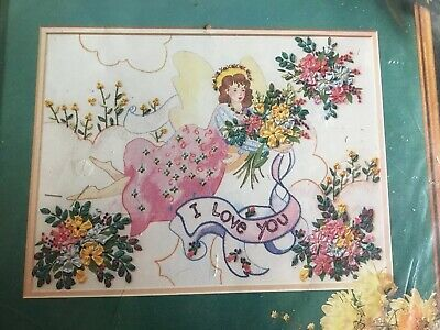 Angel with Flowers Silk Ribbon Embroidery Kit  Sealed 12x9 Bucilla Trice Boerens