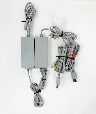 Nintendo Wii  Genuine OEM Official AC Power Supply & AV Cable Cord Lot of 2 Sets