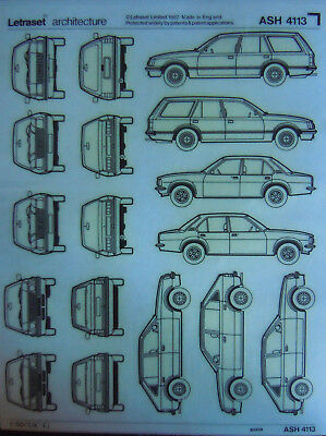 LETRASET ARCHITECTURE Transfer sheet CARS scale 1 : 50 (ASH 4113) NEW