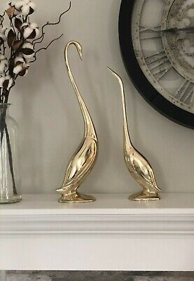 "Vintage Brass Pair Of Swans Figurines Statues Mid Century 17"" Male & 14"" Female"