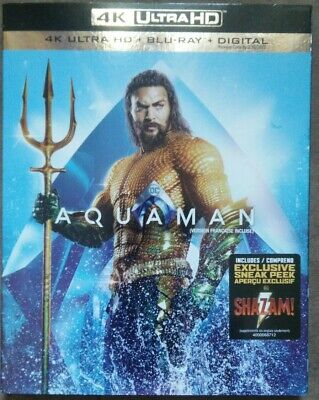 NEW 4K - Aquaman [4K UHD + Blu-ray + Digital] (Bilingual, Canadian, Slipcover)