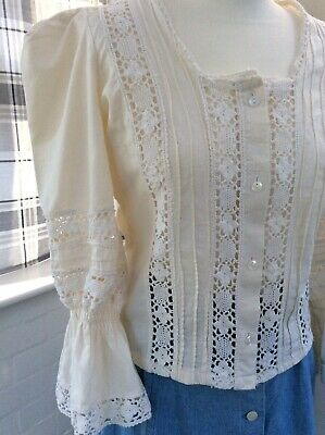 Laura Ashley early 70's blouse peasant style made in Wales size 14