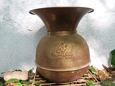 Vintage Pony Express Chewing Tobacco Brass Copper Spittoon Cuspidor Weighted
