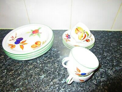 Royal Worcester evesham vale hand painted china luncheon plates, cups & saucers