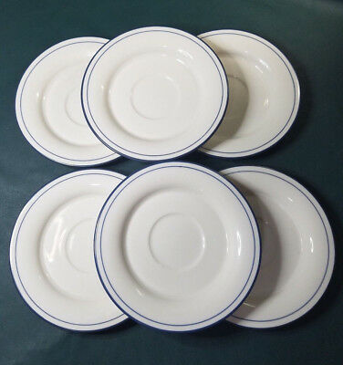 "Lenox Chinastone Poppies on Blue 6-1/4"" Saucers USA Lot of 6"
