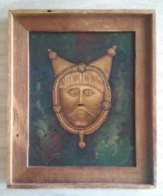 """Celtic Warrior Mask Original Painting by Janet Catalano 20"""" by 16"""" Pagan Wicca"""
