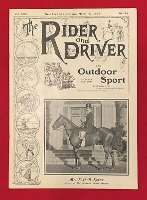 Early 1903 Rider and Driver Magazine Horses & Outdoor Sports Antique 3/21/1903