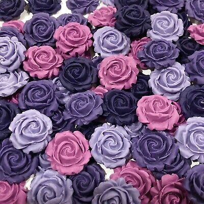 Purple Edible 3D Roses Cake, Cup Cake Toppers x 12 mix Shades Of Purple