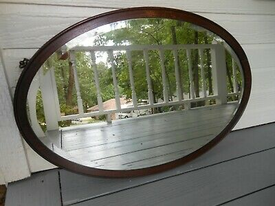 #477 Older Solid Oak Oval Shaped Frame With Beveled Edge Mirror From England