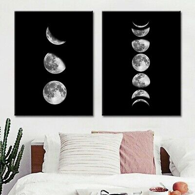 Living Moon-phases Canvas Painting Abstract Wall Art Nordic Poster Home Decor