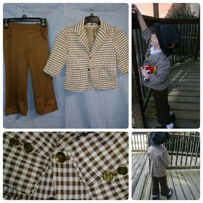 Vtg 4T Brown Checkered Leisure Suit Boys Bellbottom Pants And Jacket 2Pc Poly