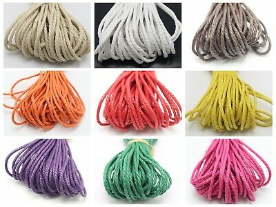 30 Meters Waxed Twisted Cotton Cord Thread Line 2mm Macrame Rope String Jewelry