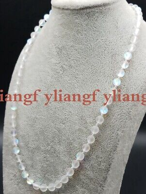 6mm 20 inch White Gleamy Rainbow Moonstone Gemstone Round Bead Necklace AAA