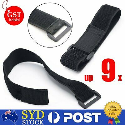 3/6/9x Black Red Cable Ties Elastic Strap Tape Cable Organizer 400mmx40mm AU