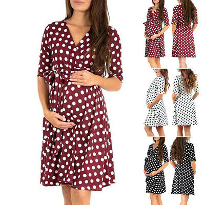 Women Maternity dress Pregnancy Loose fit Lacing Half sleeves Comfy Knee length